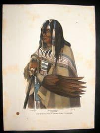 Schinz & Karl Bodmer 1845 Antique Hand Col Print. North American Indian 47