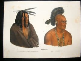 Schinz & Karl Bodmer 1845 Antique Hand Col Print. North American Indians 46
