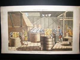 Science & Tech C1780 Antique Hand Col Print. Dye House, Drapery Textiles