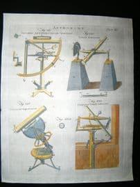 Science & Tech C1790 Hand Col Print. Astronomy, Quadrant, Telescope