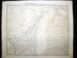 SDUK 1830's Antique Map. North America. Wisconsin & Michigan, USA