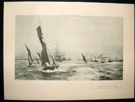 Ships 1901 Antique Print Commerce and Sea Power