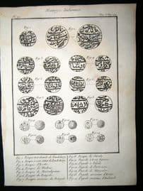 Sonnerat India 1782 Antique Print. Monneyes Indiennes. Indian Money Coins