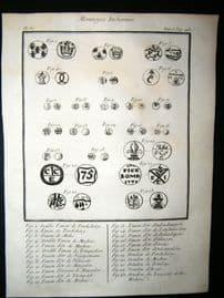 Sonnerat India 1782 Antique Print. Monnoyes Indiennes. Fanon, Doudou