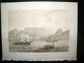 South Africa Perry Expedition 1856 Print. Cape Town & Table Mountain. Ships