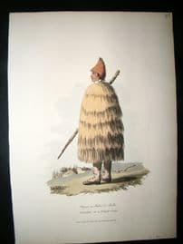 Spain 1809 Folio Hand Col Aquatint. Peasant in a Straw Coat