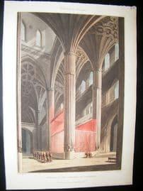 Spain 1809 Folio Hand Col Aquatint. Salamanca Cathedral Interior. Architecture