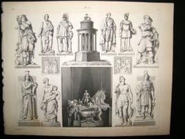 Statues/Sculpture 1857 Antique Print. 10