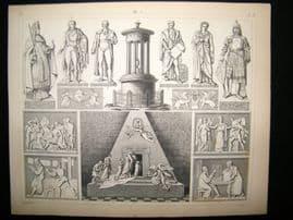 Statues/Sculpture 1857 Antique Print. 11