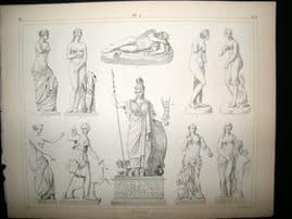 Statues/Sculpture 1857 Antique Print. 4
