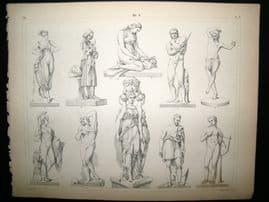 Statues/Sculpture 1857 Antique Print. 8
