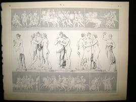 Statues/Sculpture 1857 Antique Print. 9