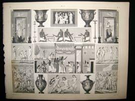 Statues/Sculpture 1857 Antique Print. Vases etc 12
