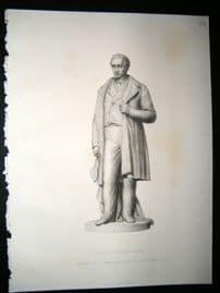 Statues/Sculpture 1858 Steel Engraving. George Stephenson, Antique Print