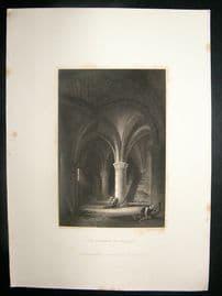 Switzerland: 1834 Steel Engraving, Chillon Dungeon Print