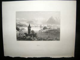 Switzerland 1847 Antique Print. Thun