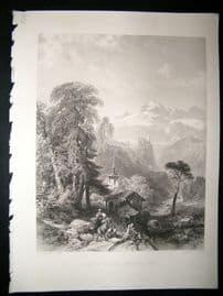 Switzerland 1854 Steel Engraving. Val St. Nicola, Antique Print