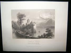 Switzerland 1867 Antique Print. Castle of Chillon