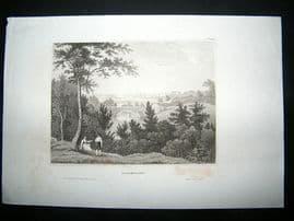 Sweden:C1840 Steel Engraving, Carlscrona Antique Print.