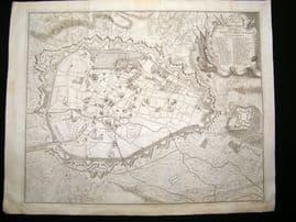 Tindal, Rapin & Du Bosc 1743 LG Antique Map. Plan of Brussels, Belgium