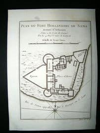 Africa Ghana: C1750 Antique Map, Fort de Sama. Bellin Prevost