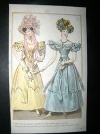 Townsend's Quarterly C1828 Hand Col Regency Fashion Print 165
