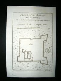 Africa Ghana: C1750 Antique Map, Fort de Sukonda. Bellin Prevost