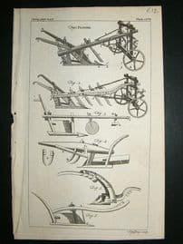 Agriculture, Ploughs:1755 Antique Farming Print.