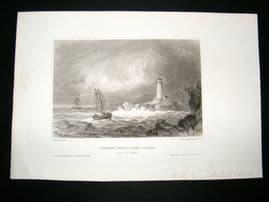 USA C1840 Antique Print. Mount Desert Rock Light House, Maine