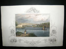 USA C1850 Hand Col Print. Ferry Bridge, Fair Mount Waterworks, Philadelphia