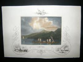 USA C1850 Hand Col Print. Timber Raft on Lake Champlain