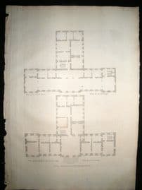 Vitruvius Britannicus C1720 Architectural Plan Stainborough Wentworth Yorkshire