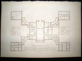 Vitruvius Britannicus C1720 Architectural Plan. Kedleston Hall, Derbyshire
