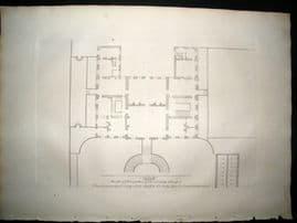Vitruvius Britannicus C1720 Architectural Plan. Principal Floor of Stoke, Hereford