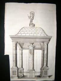 Volckamer 1708 Folio Architectural Print. Columns, with Maps