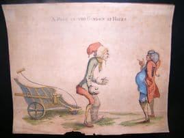 William Austin 1773 Folio Hand Col Etched Political Caricature.