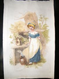 William Marshall Craig 1807 Folio Hand Col soft-ground Etching. A Girl at a Well.