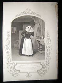 Works of Shakespere 1850 Steel Engraving. Mrs Winstanley As Mrs Quickly