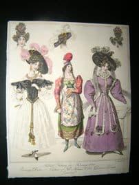 World of Fashion 1829 Hand Col Fashion Print 10. Greek Costume