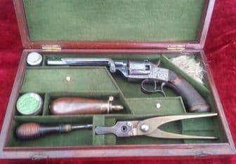 * A Cased .36 calibre Percussion revolver. Retaining original blued finish. C 1865. Ref 7376.