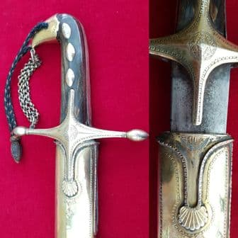 * * A Fantastic Silver mounted 19th C. Ottoman Shamshir  with original silver scabbard. Ref 9006.