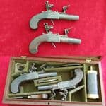 A Cased Pair of English Flintlock Pistols by H. W. Mortimer, MAKER TO HIS MAJESTY. C 1780 Ref 7382