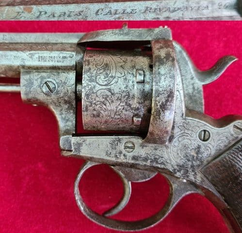 A decorative French 6 shot 9mm pin-fire double action revolver by LEFAUCHEUX. C. 1865-1870. Ref 3492