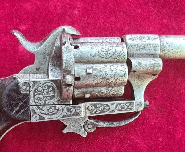 A decorative French 7mm 6 shot pin-fire revolver with folding trigger. Circa 1865. Ref 3403
