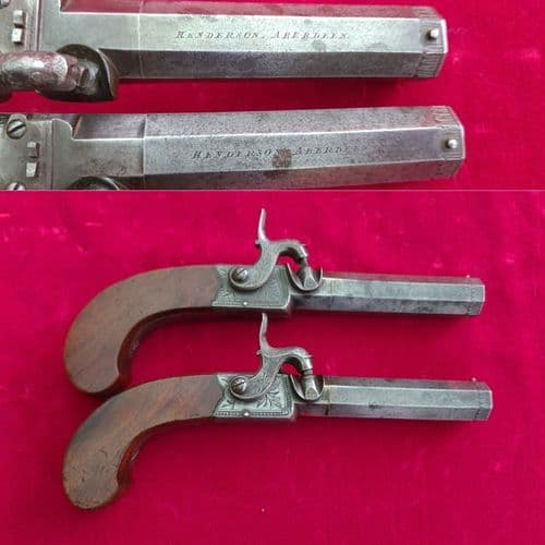 A fine pair of English .50 cal percussion pocket pistols by Henderson of Aberdeen. C. 1830. Ref 3215