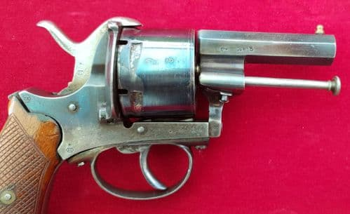 A good 6 shot double action approx 13mm antique pin-fire revolver. Circa 1865. Ref 2503