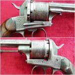 A good Belgian 13mm Pinfire 6 shot revolver by A FRANCOTTE. Circa 1865-1866.  Ref 8542.