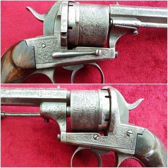 A good Belgian 13mm Pinfire 6 shot revolver by A FRANCOTTE. Circa 1865-1866.  Ref 8542.