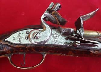 A good Flintlock brass barrelled Blunderbuss pistol by R Stringer dating from 1714. Ref 9532
