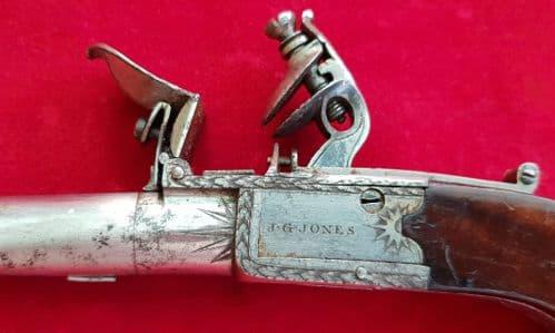 A good flintlock pocket pistol by J. G. Jones. Circa 1800. Good condition. Ref 1808.